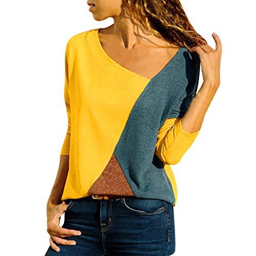 Zegeey Damen Langarmshirts T-Shirt Tops Pullover Patchwork Farbblock Asymmetrischer V-Ausschnitt Bluse Hemd Sweatshirt Oberteil Basic Shirt Rundhals Stretch LäSsige Lose(Gelb,M)