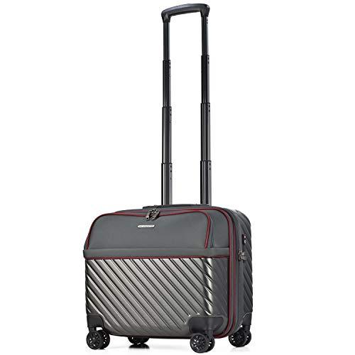【amant】スーツケース 機内持ち込み フロントオープン ビジネスキャリー 8輪 機内持込 【AVANT】 小型 ダブルキャスター キャリーケース キャリーバッグ 前ポケット 軽量 PCホルダー ビジネス 静音 TSAロック エキスパンド (グレー, 横型)