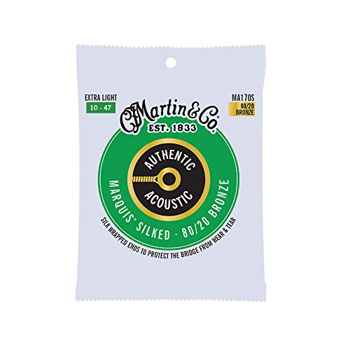 Martin Guitar MA170S Authentic Acoustic Extra-Light-Gauge Marquis Silked Strings, 80/20 Bronze Acoustic Guitar Strings