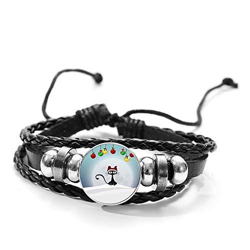 Merry Christmas Glass Button Bracelet Christmas Tree Bell Snowman Santa Claus Reindeer Fashion Wood Bead Leather Bracelet