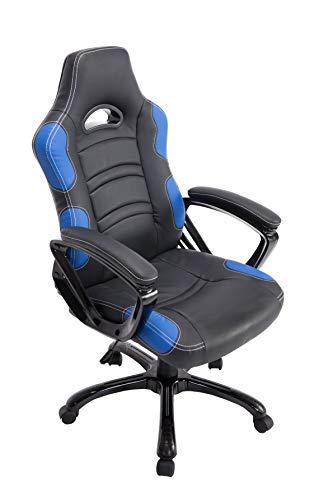 CLP Sedia Gaming Ufficio Ricardo XL In Similpelle I Poltrona Racing Carico Max 150KG I Poltrona Sportiva Regolabile, Colore:nero/blu