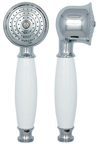 Duschkopf in Chrom mit weißem Keramik Griff im Landhausstil für die Dusche oder Badewanne Duschbrause rund