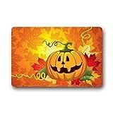 Felpudo de bienvenida, calabazas temáticas de Halloween, felpudo de poliéster para puerta de entrada Felpudo de bienvenida para el hogar, interior, entrada, cocina, patio, entrada, baño, 60 X 40Cm