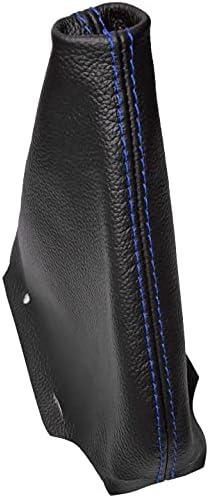 AERZETIXSoufflet de levier de vitesse en 100 cuir v 233;ritablepour voiturecouleur du cuir noircoutures bleues