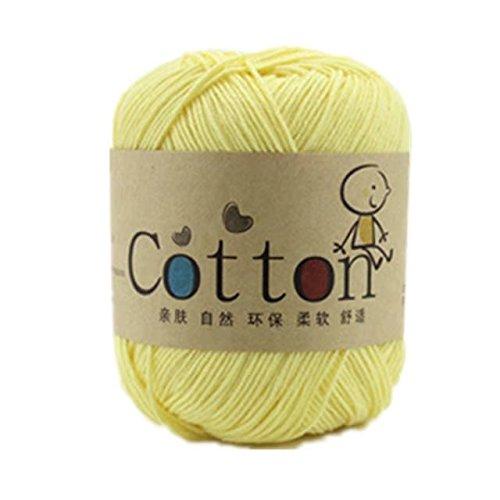 Celine lin Une pelote de fil à tricoter en coton naturel super doux pour bébé, jaune crème.