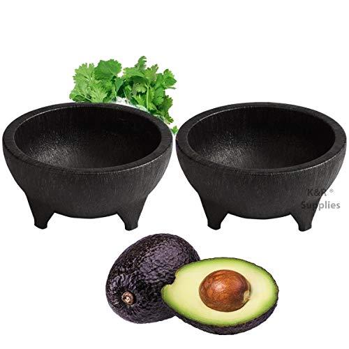 Molcajete 2pc 32 Oz Black Plastic Durable Traditional Mexican Serving Bowl Guacamole Salsas Pico de Gallo