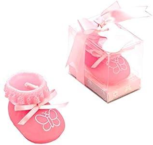 Lote de 12 velas patuco en rosa. Detalle para invitados a Bautizo.
