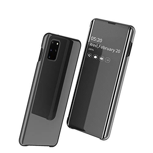 ケース Galaxy S20 Plus S20+,手帳型 第四世代ミラー おしゃれ PUレザー 携帯ケース、薄型 超軽量 人気 かわいい 鏡メッキフリップ 耐衝撃 衝撃吸収 キラキラ 全面保護 qi 充電 ワイヤレス充電 財布型カバー、面白い 二層構造 ス