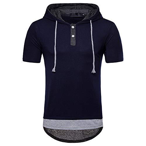 Shirt Hombre Deportiva Transpirable Cordones Hombre T-Shirt Botones Verano Costura Tapeta Manga Corta Hombre Shirt Casual Moda Clásico Irregular Tendencia Hombre Capucha Shirt C-Blue M