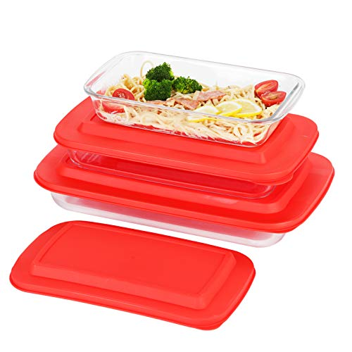 Doonmi – 3 Pack Classic Glass Baking Dish with Lid (1.6 Litre, 2.2 Litre and 3 Litre), Glass Rectangular Roaster, Dishwasher Safe, Freezer-to-Oven Safe Baking Dishes, with BPA-Free Lids.
