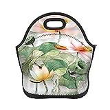 ADONINELP Bolsa de almuerzo con aislamiento para mujeres y hombres, hojas de flor de loto asiáticas orientales, bolso de mano con aislamiento térmico resistente al agua, caja de almuerzo, enfriador d