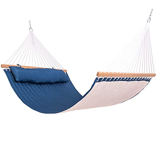 Lazy Daze Hammocks Quilted Fabric Hammock Double Sided Hammock Swing w/Spreader Bar and Pillow, 78'x55' for Two Person, 450 Pound Capacity, for Backyard, Porch, Outdoor and Indoor, Navy Blue/Natural
