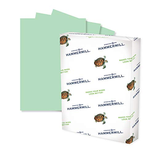 Hammermill Colored Paper, 20 lb Green Printer Paper, 8.5 x 11-1 Ream (500 Sheets) - Made in the USA, Pastel Paper, 103366R