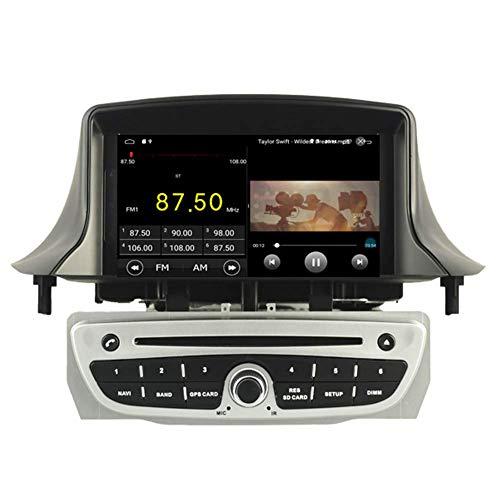 JFFFFWI Android 10 Car DVD Player GPS Stereo Head Unit Navi Radio Multimedia WiFi para Renault Megane 3 Fluence 2009 2010 2011 2012 2013 2014 2015 Control del Volante (Plateado)