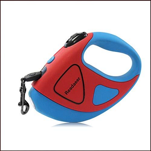 Readaeer Hundeleine automatische einziehbare Leine/Rollleine aus Nylon mit LED Taschenlampe für klein-mittel Haustier bis 50 KG (5M) (5M, Blau und Rot) (5M, Blau und Rot)