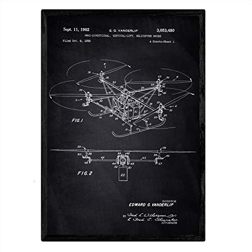 Poster Nacnic Patent Dron helikopter. Blad met oud ontwerp patent A3-formaat met zwarte achtergrond
