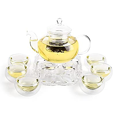 Cedilis 9pc 13.5oz Glass Teapot Set, Tea Kettle Infuser with a Candle Warmer, 6 Double Wall Cups and a Removable Strainer, Stovetop Safe, Tea Pot with Blooming, Loose Leaf Tea Maker