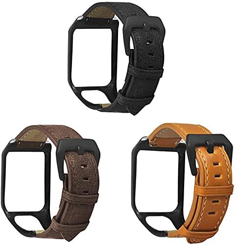 KEEBON 3 unids compatibles con Tomtom Runner3 & Tomtom Adventurer Watch Strap - Pulsera de Pulsera de Correa de reemplazo de Cuero con Protector de Caja de Reloj - GPS Accesorios de Reloj