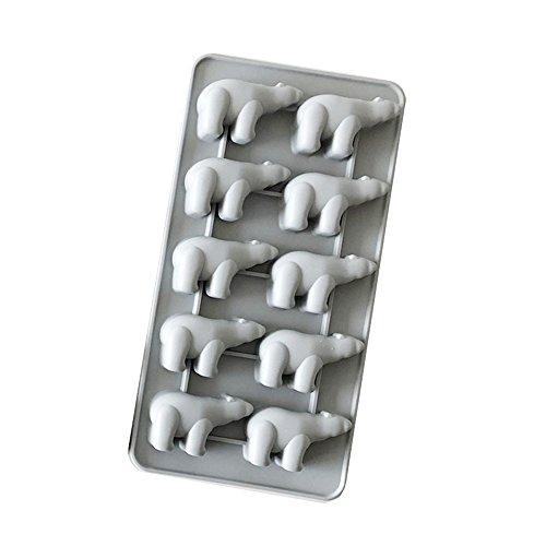 Koryo Alpha Line 100% Silicon Pastel Color Polar Bear Shaped Ice Cube Maker, Molds, Eco-Friendly Flexible Tray (Gray)