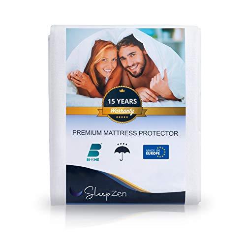 SLEEPZEN Protège Matelas 140 x 190/200 cm Imperméable - Alèse Certifiée Oeko-TEX® - Surface 100% Coton Molleton - Membrane Protection Polyuréthane - Anti-Bactérien Anti-acarien