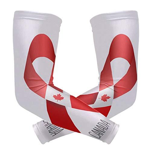 LUPINZ Kompressionsstrümpfe, Kanada-Streifenmuster, UV-Schutz, Kühlung, Sonnenschutz, für Outdoor-Sportarten, 1 Paar