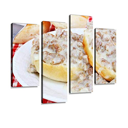 YKing1 Biscuits, Sausage and Gravy Sausage Stock Pictures, Royalty Free Wall Art Painting Pictures Print On Canvas Stretched & Framed Artworks Modern Hanging Posters Home Decor 4PANEL