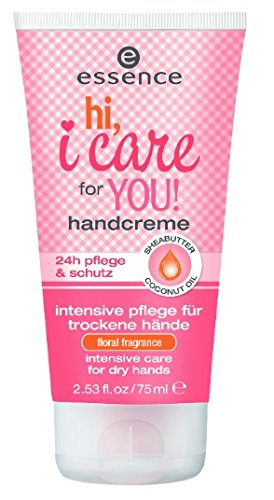 Essence Limited Edition Handcreme hi. i care for you! Handcream - floral fragrance - 24h Hand Protection & Care Balm Sheabutter + Coconut Oil Inhalt: 75ml Handcreme für intensive Pflege ideal für trockene Hände.