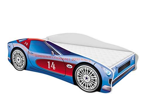 Kinderbett Autobett Auto Junior mit Lattenrost und Matratze 140x70 160x80 180x80 ACMA (160x80, 2)