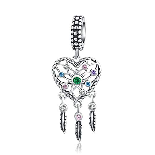Dream Catcher Charm 925 Sterling Silver Colorful Crystal Feather Charm Birthday Christmas Charms for Women Bracelets Beads (Love Dream Catcher Charm Beads Dangle)