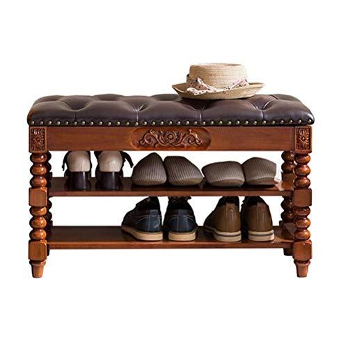 HEMFV Simplifique el Banco de Almacenamiento, Zapatero con la Solapa Cojín Esponja Ahorrar Espacio Home Living Room Hotel Brown (Color: Marrón 90cm)