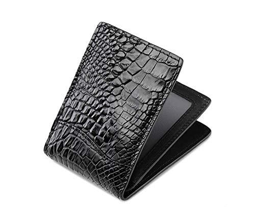 EEKUY Krokodil-Leder Kreditkarteninhaber, Kurz Multi-Card-Bit Multi-Funktions-Schwarz Wallet Falten Männer 4,1 × 2,9 × 0,4 Inch,Schwarz