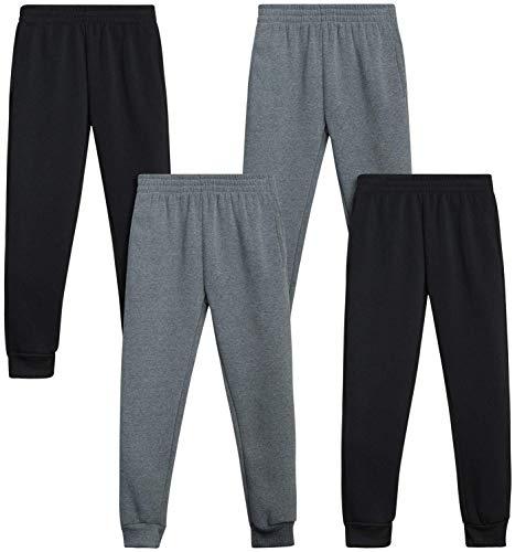 Quad Seven Boys' Active Fleece Jogger Sweatpants (4 Pack), Navy/Grey/Charcoal/Black, Size 8/10