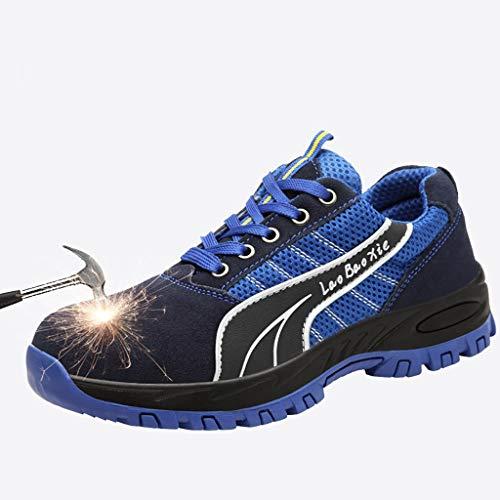 Zapatos de seguridad Zapatos de seguridad del dedo del pie mujeres de los hombres de acero de trabajo Formadores - Calzado de gamuza, resistente a los pinchazos media suela de acero, antideslizante re