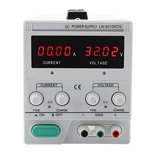 Fuente de alimentación de Laboratorio, Akozon 4LED Fuente de alimentación de CC Digital regulada Ajustable 30V 10A 220 / 110V (LW-3010KDS)