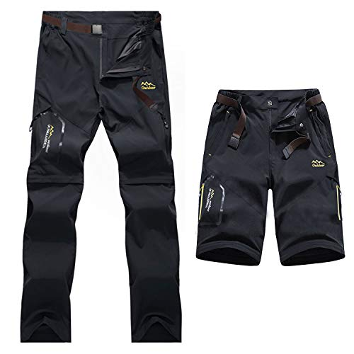 7VSTOHS Mens Zip Off Convertible Quick Dry Hiking Trousers Breathable Lightweight Outdoor Casual Climbing Walking Trousers