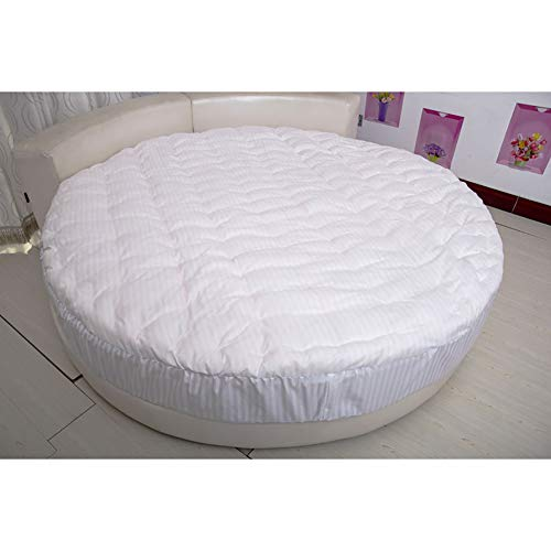 100% Cotton Quilted Futon Mattress Topper For Circle Beds,Comfort Design Mats,Thick Round Bed Mattress Protector-White 210cm(83inch)