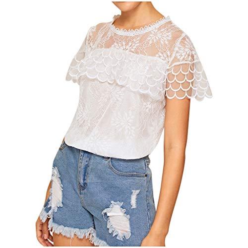 SatinGold Aushöhlen T-shirt Damen Kurzarmshirt Sommer Spitzen Frauen Hemd Mesh Bluse Elegante Oberteile Sexy Tops Weiß