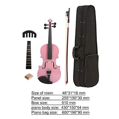 QIDOFAN Violon 1/8 Attelint Violon acoustique lumineux Basse Basse Body Plaque latérale de l\'érable Head Fiddle avec Boîte de colophane Kits de silencieux Instruments (Color : Pink)