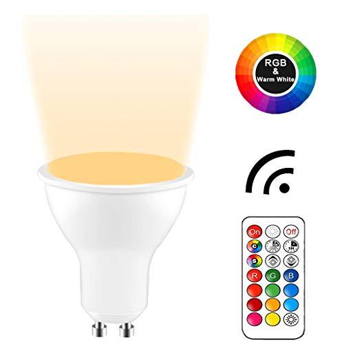 YAYZA! 2-Paquete Premium Regulable GU10 6W RGB + Blanco Cálido 3000K Color Que Cambia IR Control Remoto Foco LED Foco Empotrable Bombilla