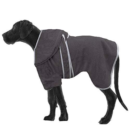 HOMELEVEL Hunde Bademantel aus 100% Baumwolle für Weibchen und Männchen schnell trocknend Hund Bademantel Handtuch Anthrazit/Grau XL