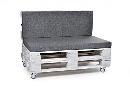 Palettenkissen, Matratzenkissen, Sitzbankauflage auch m. Rückenlehne Softline Stoff/Polyester grau
