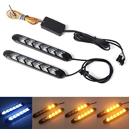 XINFOK 2ST weiß gelb Switchback Flexible fließt LED DRL Tagfahrlicht wasserdichte läuft LED Tageslicht Blinker Scheinwerfer (9led 25CM, weiß und gelb)
