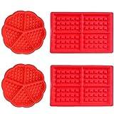 Stampo per Waffle,Antiaderenti Stampi per Waffle in Silicone 4pcs Forno Microonde Stampi per Biscotti Set per Bambini Muffa Choclate Utensili da Cucina Rettangolare e Rosso Forma Rosso