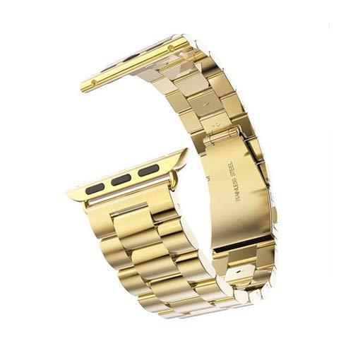 Hspcam Correa de acero inoxidable para Apple Watch Band 44 mm 40mm iWatch Band 42mm 38mm Metal Pulsera Apple Watch 5/4/3/2/1 44mm + caja + herramienta (38mm dorado)