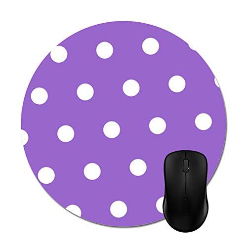 "Smity 106 Purple White Polka Dot Mouse Pads Trendy Office Desktop Accessory Round 8"""