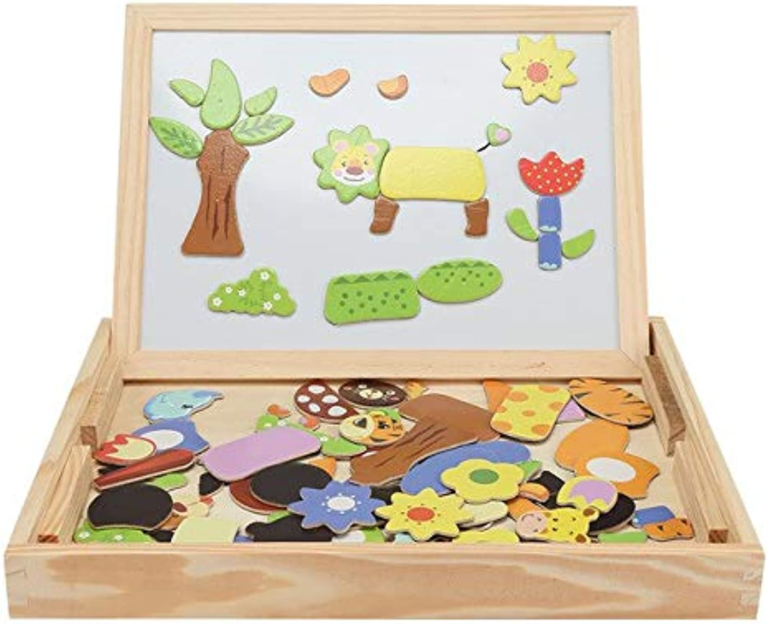 Laliva Wooden Magnetic Puzzle Kids DIY Jigsaw Drawing Board Educational Toy Develop Baby Hands-On Hand-Eye Coordination Cognitive Skill - (color  Multi a)