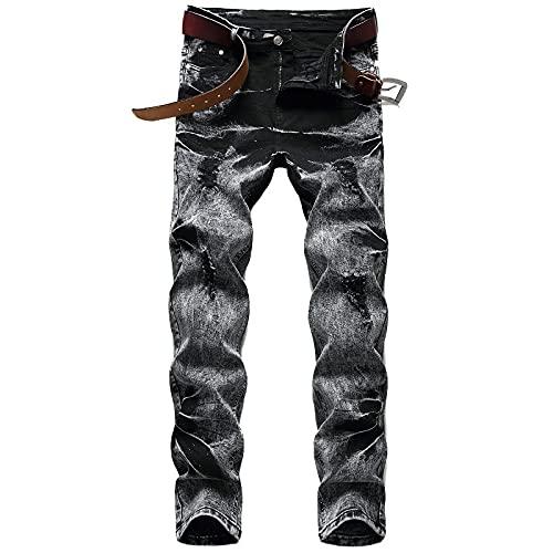 ShFhhwrl Vaqueros de Moda clásica Pantalones Vaqueros Rasgados Elásticos Largos Nuevos Pantalones Vaqueros De Mar