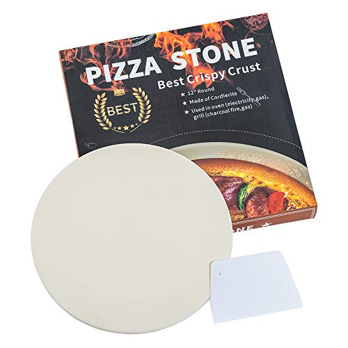Ihoming Pizza Stone for Oven & Grill. 12 inch Round Baking Stone with Exclusive ThermaShock Protection & Core Convection Tech for The Perfect Crispy Crust on Pizzas & Bread (Round)