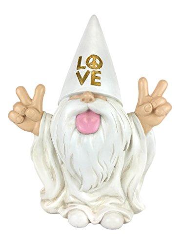 """Rockerzwerg - """"George"""" - Frieden und Liebe - Dieser Zwerg bringt allen Frieden und Liebe in Ihrem Feen- und Zwergengarten. Von GlitZGlam. Eine 25,4 cm große Gartenzwergenfigur"""