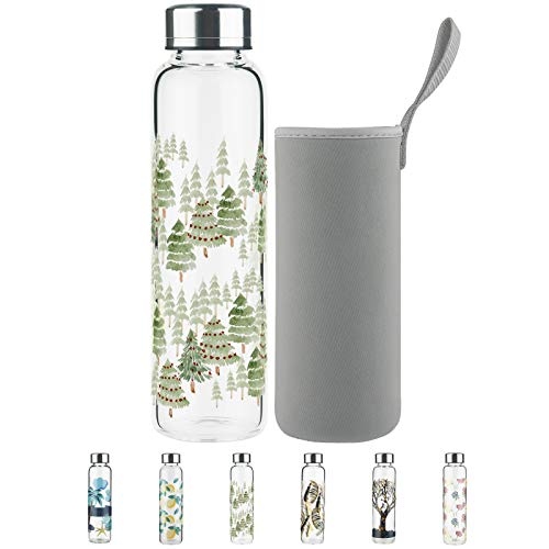 Sturdy Thick Borosilicate Glass Water Bottle 500ml / 1 litre with Leak Proof Stainless Steel Lid and Protective Neoprene Sleeve, Refillable Hot or Cold Water/Beverages, Perfect for Office, Gym, Travel